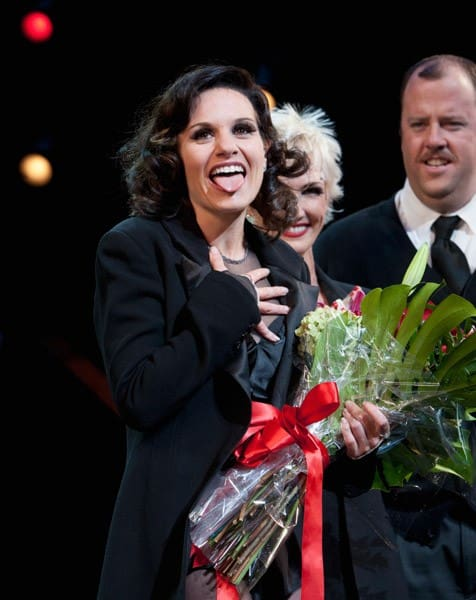 Recording artist Kara DioGuardi on stage during the curtain call for Broadway's Chicago' at the Ambassador Theatre on September 6, 2011 in New York City.