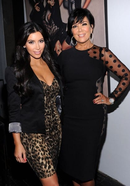 Kris Jenner, Khloe Kardashian, Kim Kardashian and Kourtney Kardashian attend the Kardashian Kollection launch event on September 6, 2011 in New York City.