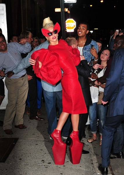 Lady Gaga is seen in the Meatpacking District on September 12, 2011 in New York City.