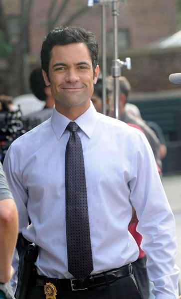 Mariska Hargitay and Danny Pino filming on location for 'Law & Order SVU' on September 8, 2011 on the streets of Manhattan in New York City.