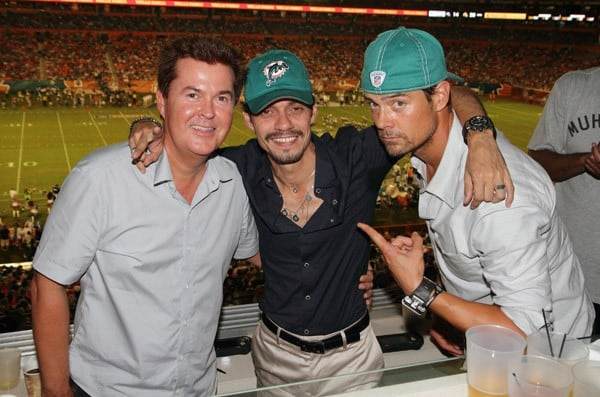 Simon Fuller, Josh Duhamel, Fergie, Marc Anthony, Will Smith and Pitbull attend the birthday celebration for Marc Anthony during the Miami Dolphins vs New England Patriots Monday Night Football game on September 12, 2011 in Miami Gardens, Florida.