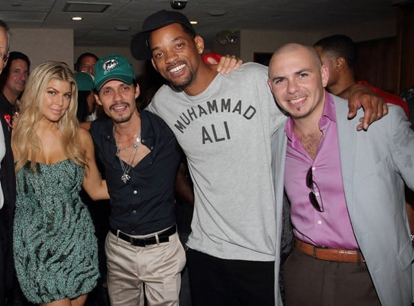 Fergie, Marc Anthony, Will Smith and Pitbull attend the birthday celebration for Marc Anthony during the Miami Dolphins vs New England Patriots Monday Night Football game on September 12, 2011 in Miami Gardens, Florida.