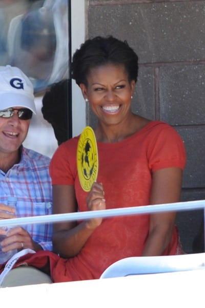 First Lady Michelle Obama attends the 2011 US Open at USTA Billie Jean King National Tennis Center on September 9, 2011 in New York City.