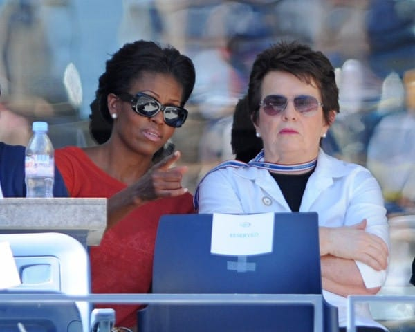 First Lady Michelle Obama and Billie Jean King attend the 2011 US Open at USTA Billie Jean King National Tennis Center on September 9, 2011 in New York City.