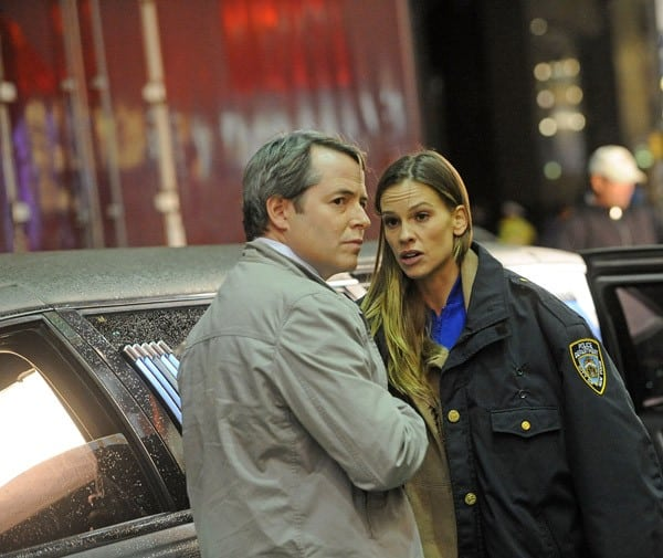 Director Garry Marshall, Matthew Broderick and Hilary Swank filming on location for 'New Years Eve' on September 15, 2011 on the streets of Manhattan in New York City.
