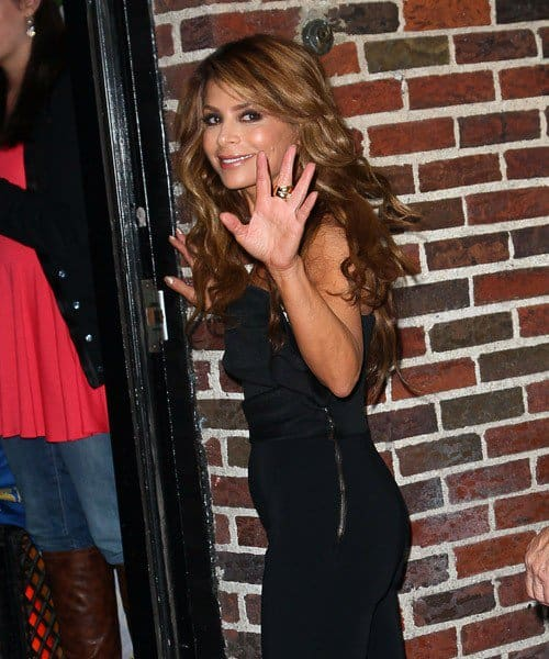 Television personality Paula Abdul arrives to 'Late Show With David Letterman' at the Ed Sullivan Theater on September 20, 2011 in New York City.