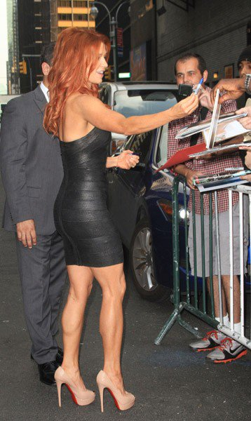 Actress Poppy Montgomery is seen arriving to 'Late Show With David Letterman' at the Ed Sullivan Theater on September 26, 2011 in New York City.