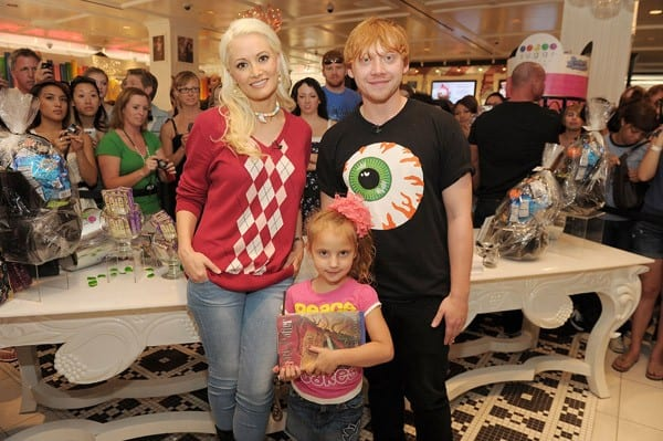 Holly Madison during an EXTRA interview with Rupert Grint at his autograph signing at Sugar Factory at Paris Las Vegas on September 18, 2011 in Las Vegas, Nevada.