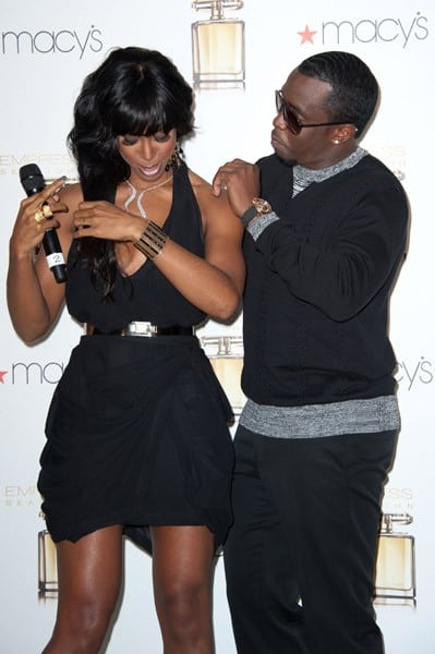 Singer/actress Kelly Rowland and rapper/producer Sean 'Diddy' Combs attend the launch of the fragrance 'Empress' at Macy's Lakewood Mall on September 15, 2011 in Lakewood, California.