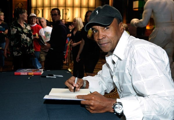 Sugar Ray Leonard signs copies of his book 'The Big Fight' at Caesars Palace on September 17, 2011 in Las Vegas, Nevada.