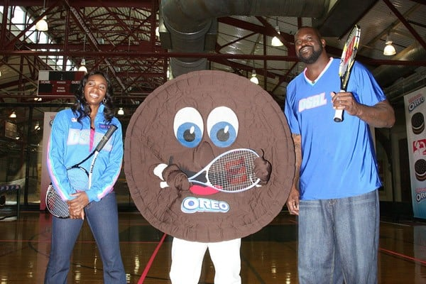 Venus Williams and Shaquille O'Neal attend the 'Triple Double Oreo Cookie 'Game Day' Challenge' at the Chelsea Piers Sports Center on September 13, 2011 in New York City.