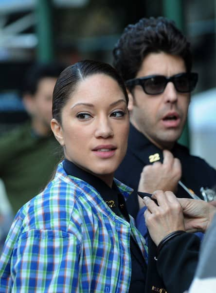 Adam Goldberg and Judy Marte filming on location for 'The 2-2' on October 6, 2011 in New York City.