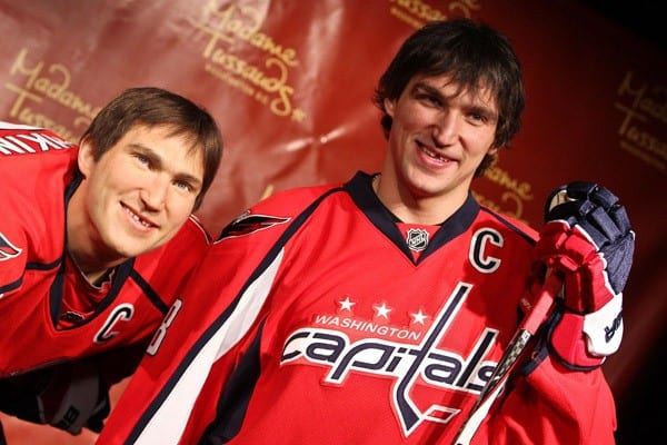 Alex Ovechkin of the Washington Capitals NHL hockey team attends the unveiling of his wax figure at Madame Tussauds on October 24, 2011 in Washington, DC.