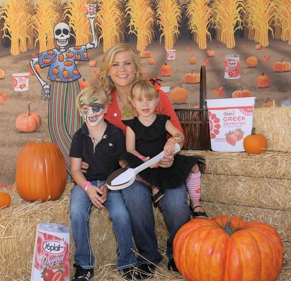 Actress Alison Sweeney, son Ben and daughter Megan enjoying a day at Mr. Bones Pumpkin Patch while supporting the Yoplait Makes Families California Strong campaign on October 8, 2011 in West Hollywood, California.