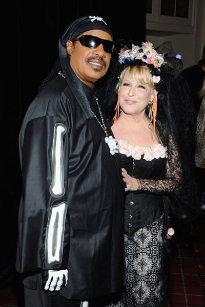 Carmelo Anthony, Sandra Lee, Stevie Wonder and Bette Midler attend Bette Midler's 16th Annual New York Restoration Project's Hulaween at The Waldorf Astoria on October 28, 2011 in New York City.