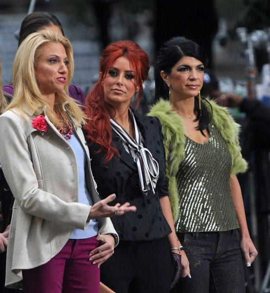 Debbie Gibson, Aubrey O'Day and Teresa Giudice on the set of 'Celebrity Apprentice' on October 26, 2011 in New York City.