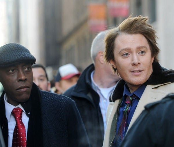 Arsenio Hall and Clay Aiken on the set of 'Celebrity Apprentice' on October 28, 2011 in New York City.