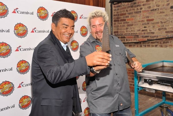 Actor/comedian George Lopez and celebrity chef Guy Fieri attend the Carnival Cruise Lines press conference at Hudson Terrace on October 3, 2011 in New York City.