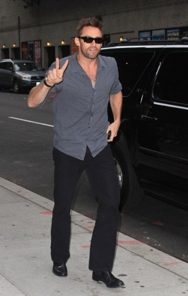 Actor Hugh Jackman is seen arriving at the 'Late Show With David Letterman' at the Ed Sullivan Theater on October 4, 2011 in New York City.