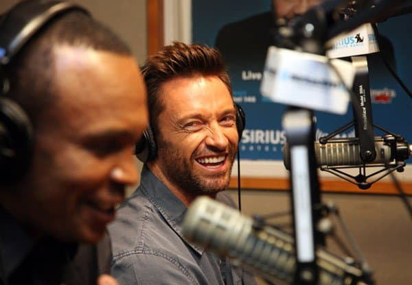 Retired professional boxer Sugar Ray Leonard and actor Hugh Jackman invade 'The Whoolywood Shuffle' at SiriusXM Studio on October 8, 2011 in New York City.