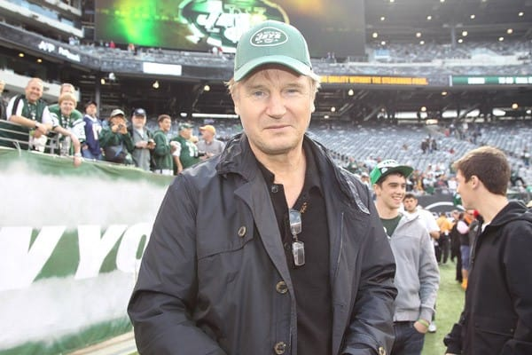 Liam Neeson, Jimmy Fallon and Chef Mario Batali attend the San Diego Chargers vs New York Jets game at MetLife Stadium on October 23, 2011 in East Rutherford, New Jersey.