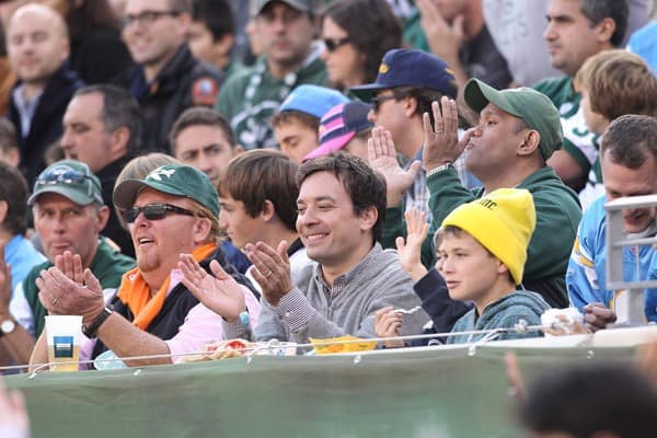 Jimmy Fallon and Chef Mario Batali attend the San Diego Chargers vs New York Jets game at MetLife Stadium on October 23, 2011 in East Rutherford, New Jersey.