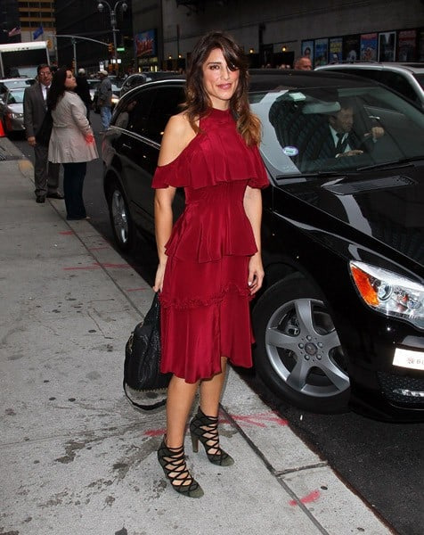 Actress Jennifer Esposito visits 'Late Show With David Letterman' at the Ed Sullivan Theater on October 26, 2011 in New York City.