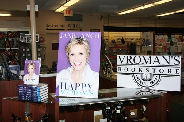 Actress Jane Lynch signs copies of her new book 'Happy Accidents' at Vroman's Bookstore on October 16, 2011 in Pasadena, California.