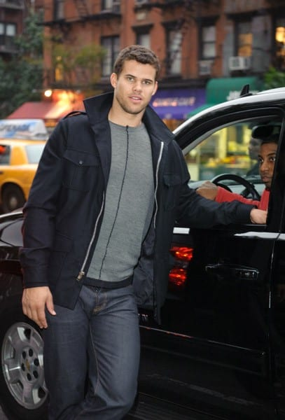 Kris Humphries, Kourtney Kardashian, Khloe Kardashian filming on location for 'Kourtney & Kim Take New York' at 25 Park on October 13, 2011 in New York City.