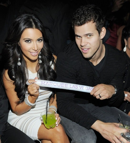 Kris Jenner, Lamar Odom, Khloe Kardashian, Kris Humphries and Kim Kardashian celebrate Kim Kardashian's birthday at Marquee Nightclub at the Cosmopolitan in CityCenter on October 22, 2011 in Las Vegas, Nevada.
