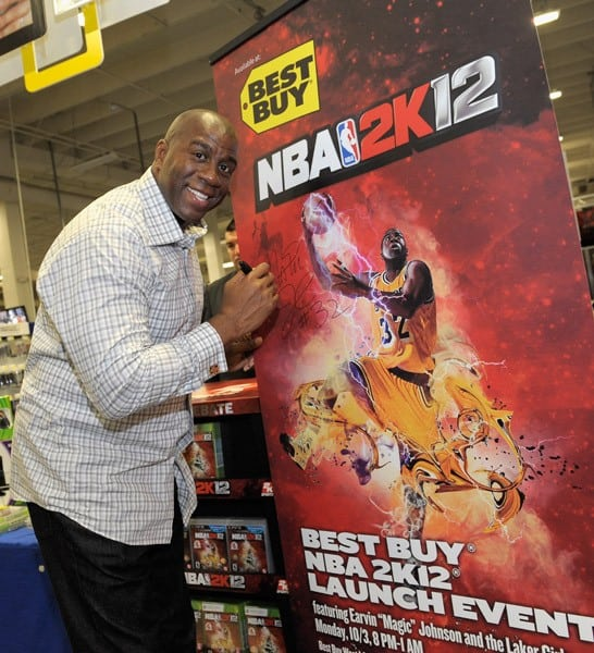 NBA legend Earvin 'Magic' Johnson hosts the NBA 2K12 Launch Event at the Best Buy in West LA on October 3, 2011 in Los Angeles, California.