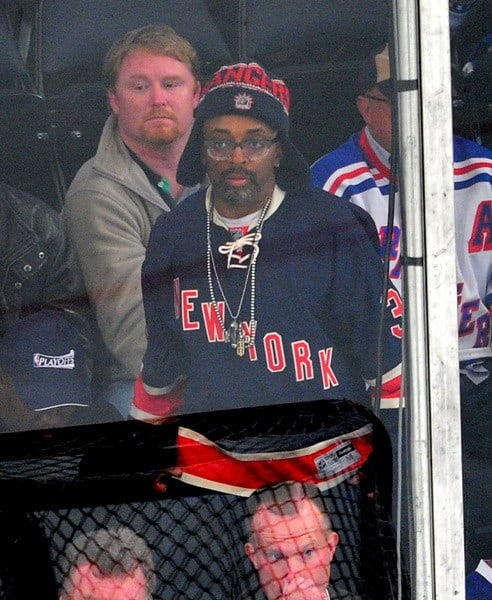 Spike Lee, Allan Houston, Mike Myers attends the Toronto Maple Leafs vs the New York Rangers game at Madison Square Garden on October 27, 2011 in New York City.