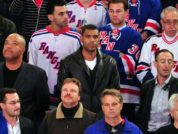 Allan Houston, Mike Myers attends the Toronto Maple Leafs vs the New York Rangers game at Madison Square Garden on October 27, 2011 in New York City.