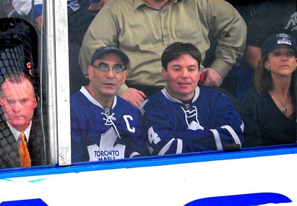 Mike Myers attends the Toronto Maple Leafs vs the New York Rangers game at Madison Square Garden on October 27, 2011 in New York City.