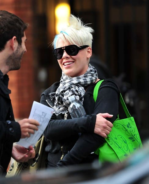 Pink leaves the set of 'Thanks For Sharing' on October 3, 2011 in New York City.
