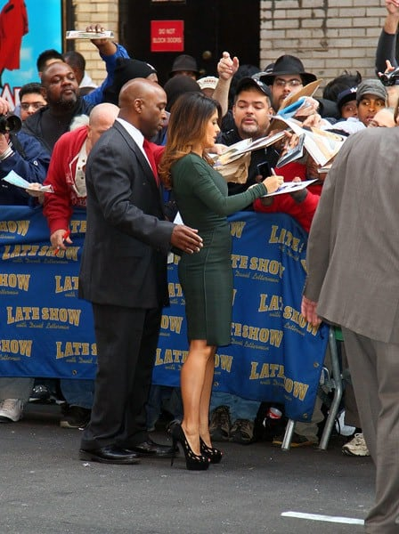 Actress Salma Hayek arrives to 'Late Show With David Letterman' at the Ed Sullivan Theater on October 24, 2011 in New York City.