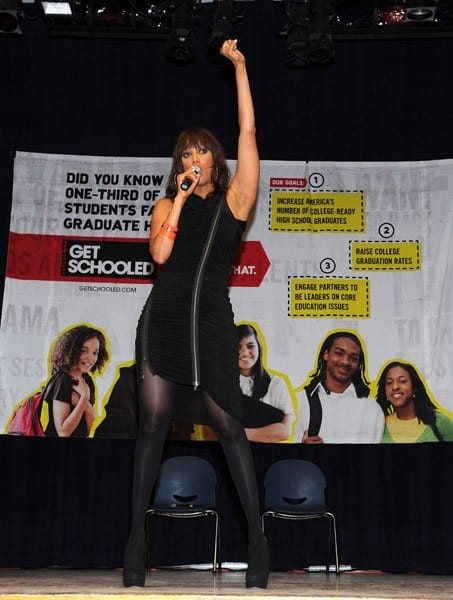 Model and author Tyra Banks surprises students at Mary McLeod Bethune Middle School for the Get Schooled Foundation on October 27, 2011 in Los Angeles, California.