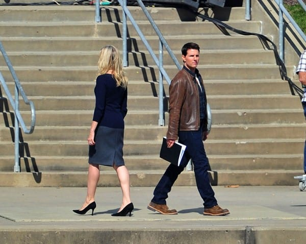 Tom Cruise filming on location for 'One Shot' on October 7, 2011 in Pittsburgh, Pennsylvania.