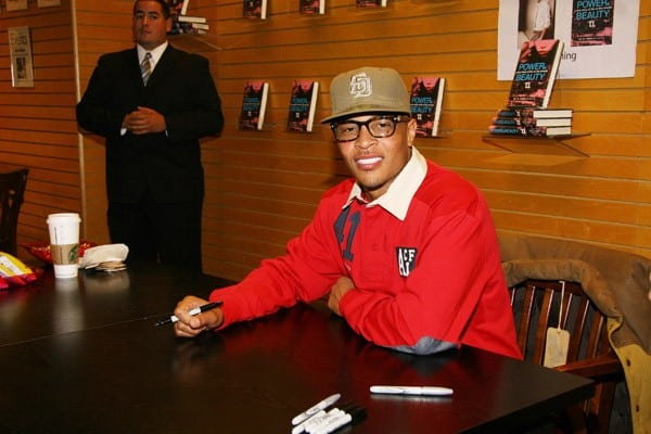 Rapper T.I. signs copies of his new book 'Power & Beauty' at Barnes & Noble 3rd Street Promenade on October 26, 2011 in Santa Monica, California.