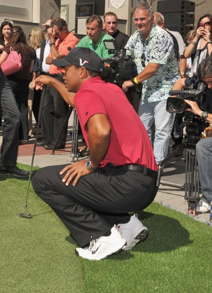 PGA Player Tiger Woods attends the Chevron World Challenge held at the Hollywood & Highland Courtyard on October 11, 2011 in Hollywood, California.