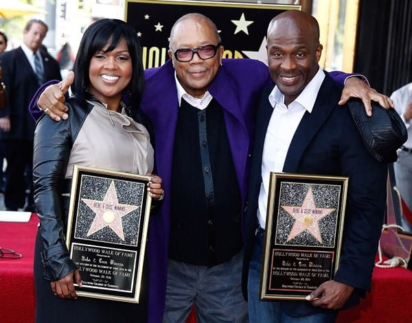 CeCe Winans, Quincy Jones and BeBe Winans attend the Hollywood Walk Of Fame Induction Ceremony on October 20, 2011 in Hollywood, California.