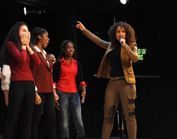 Alicia Keys surprises students at the Professional Performing Arts School as a part of Western Union's 'World of Betters' program on November 1, 2011 in New York City.