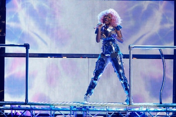 Nicki Minaj performs at the 2011 American Music Awards at Nokia Theatre L.A. Live on November 20, 2011 in Los Angeles, California.