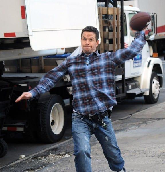 Kyle Chandler, Mark Wahlberg filming on location for 'Broken City' on November 20, 2011 in New York City.