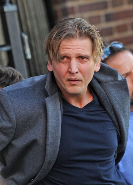 Barry Pepper and Mark Wahlberg on the set of 'Broken City' on the streets of Brooklyn on November 7, 2011 in New York City.