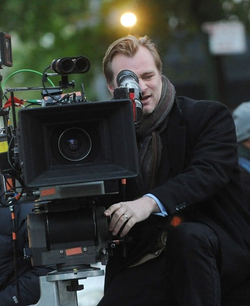 Director Christopher Nolan works on the set of 'Dark Knight Rises' on the streets of Manhattan on November 2, 2011 in New York City.