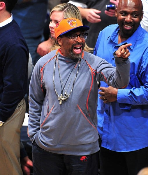 Spike Lee, Carmelo Anthony, Chris Paul, Plaxico Burress and son Elijah attend Duke Blue Devils vs Michigan State Spartans game at the State Farm Champions Classic at Madison Square Garden on November 15, 2011 in New York City.
