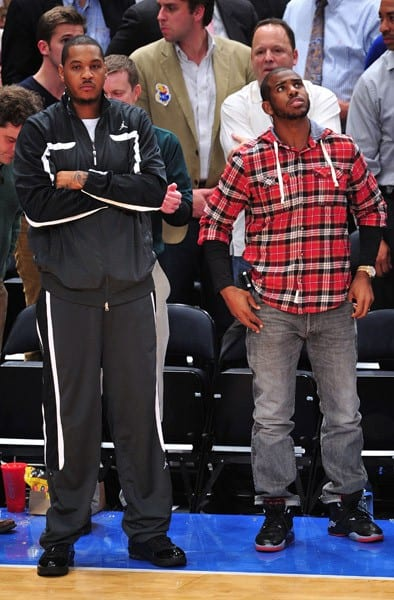 Carmelo Anthony and Chris Paul attend Duke Blue Devils vs Michigan State Spartans game at the State Farm Champions Classic at Madison Square Garden on November 15, 2011 in New York City.