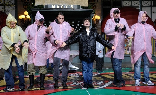 Actor Daniel Radcliffe attends rehearsals for the 85th annual Macy's Thanksgiving Day parade at Macy's Herald Square on November 22, 2011 in New York City.