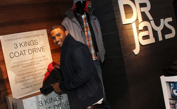 Fabolous and Trey Songz attend the 2011 3 Kings Coat Drive at Dr. Jay's on November 1, 2011 in New York City.